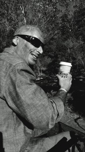 One of my pictures of Bobby...just sitting beside the river, enjoying a cup of coffee.