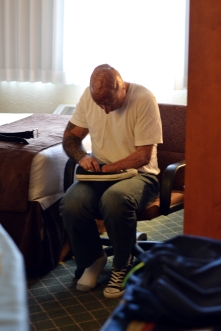 We settled into our hotel and prepared to walk through downtown Estes Park. But before we left, I checked to see if Bobby was ready, and I saw this…he was tying his shoe on his lap. I quietly ran to get my camera so I could capture this innocent moment. There was something about it that grabbed me. Just pure, candid, raw.